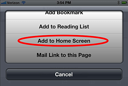 Adding a shortcut on iPhone - step 2